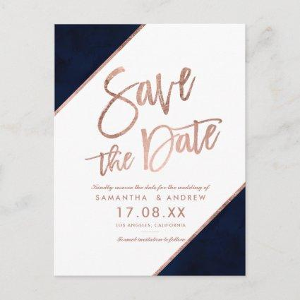 Rose gold glitter script white save the date announcement