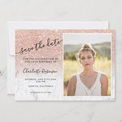 Rose gold glitter white marble 3 photos Sweet 16 Save The Date