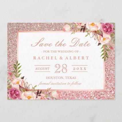 Rose Gold Glitters Pink Floral Save the Date