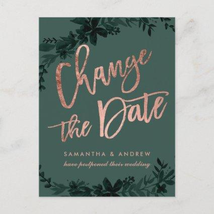 Rose gold green Floral postponed change the date Announcement