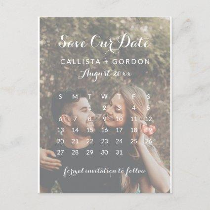 Rose Gold Heart Photo Calendar Save the Date Announcement