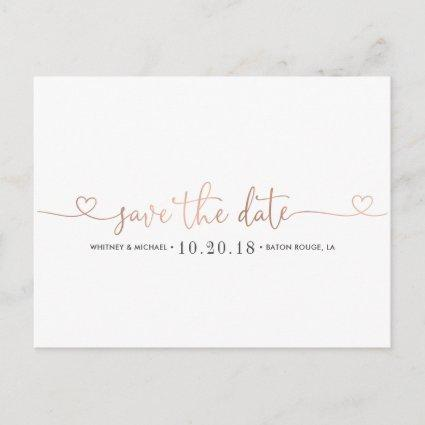 Rose Gold Heart Save the Date Announcements Cards