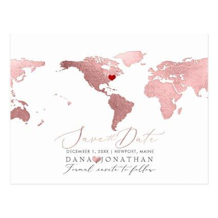 Rose Gold Map, Any Destination