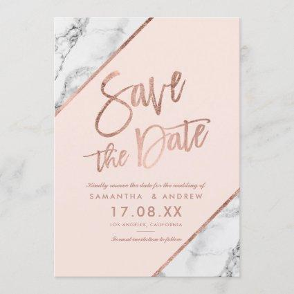 Rose gold marble script blush pink save the date