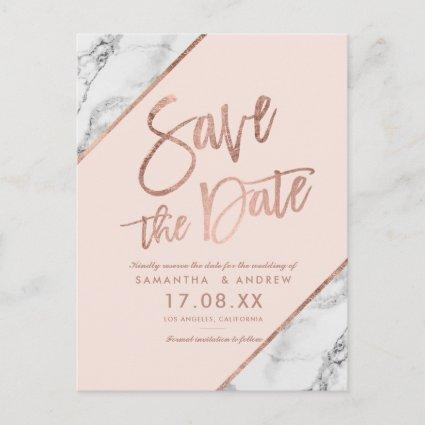 Rose gold marble script blush pink save the date announcement