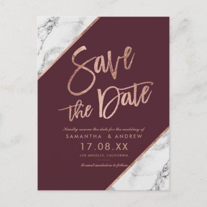 Rose gold marble script burgundy save the date announcement