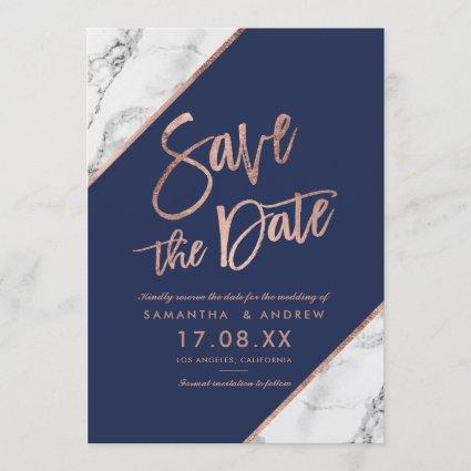 Rose gold marble script navy blue save the date