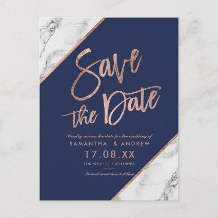 Rose gold marble script navy blue save the date announcement