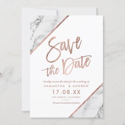Rose gold marble script white save the date