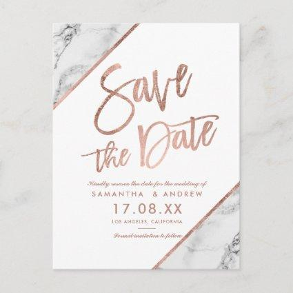 Rose gold marble script white save the date announcement