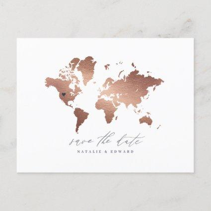 Rose gold metallic world map wedding announcement