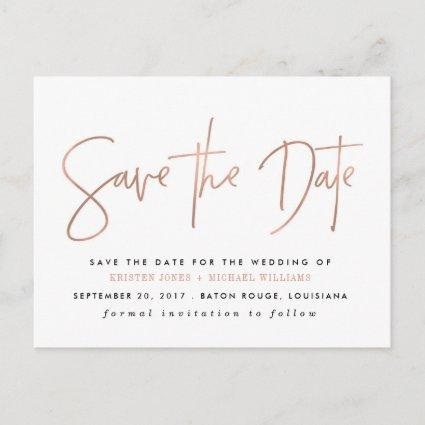 Rose Gold Modern Save the Date Announcement