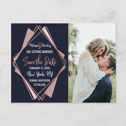 Rose Gold Navy Blue Mauve Geometric Save the Date Announcement