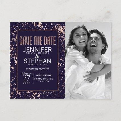 Rose Gold Navy Blue Paint Splatters Save the Dates Announcement