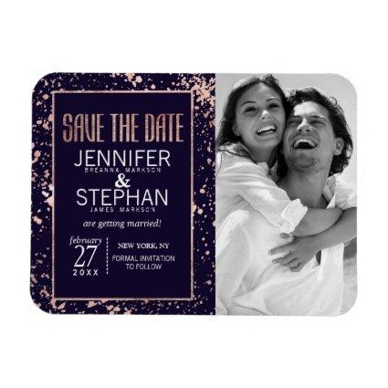 Rose Gold Navy Blue Paint Splatters Save the Dates Magnet