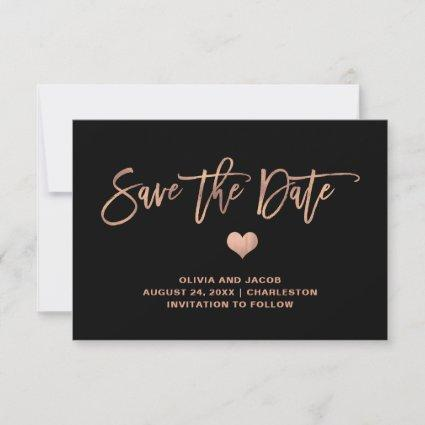 Rose Gold on Black with Heart | Photo Back Save The Date