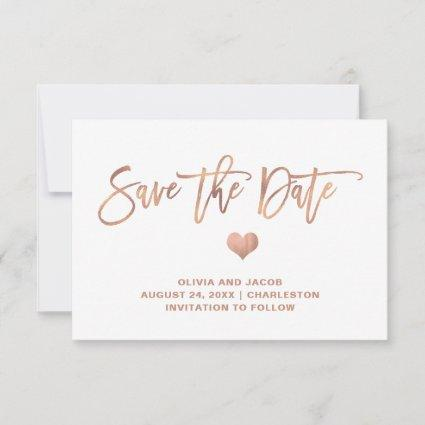 Rose Gold on White with Heart | Photo Back Save The Date