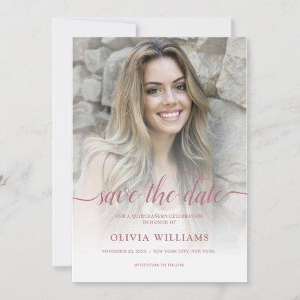 Rose Gold Photo Overlay Quinceañera Save the Date