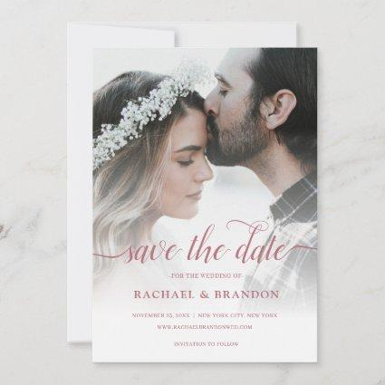 Rose Gold Photo Overlay Wedding Save the Date