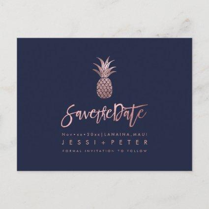 Rose Gold Pineapples+DIY Background Navy Blue Announcement