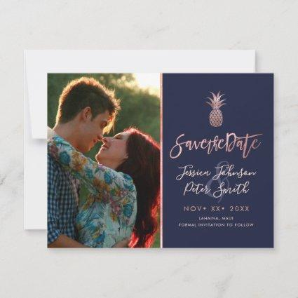 Rose Gold Pineapples+DIY Background Navy Blue Save The Date