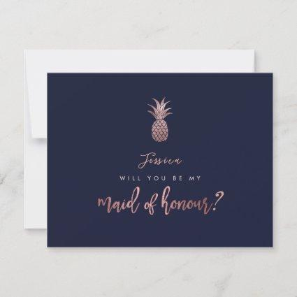 Rose Gold Pineapples Will you be my Maid of Honour Save The Date