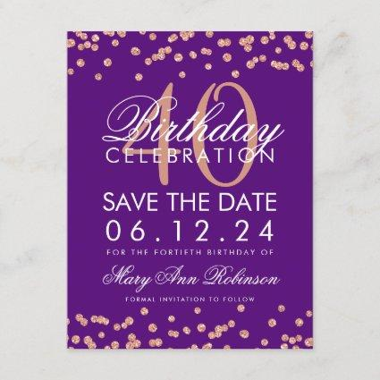 Rose Gold Purple 40th Birthday Save Date Confetti Save The Date