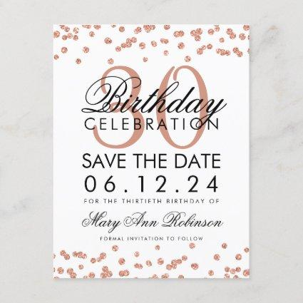 Rose Gold Save the Date Birthday Confetti