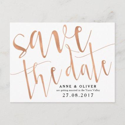 Rose Gold Save the Date Cards Rustic
