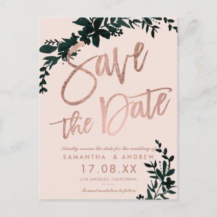 Rose gold script Floral blush pink save the date Announcement