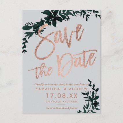 Rose gold script Floral green grey save the date Announcement