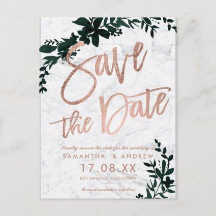 Rose gold script Floral green marble save the date Announcement