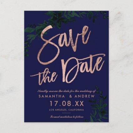 Rose gold script Floral green navy save the date Announcement