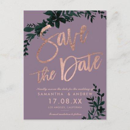 Rose gold script Floral green purple save the date Announcement