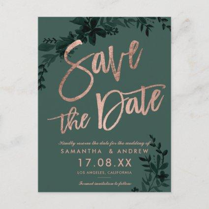 Rose gold script Floral green save the date Announcement