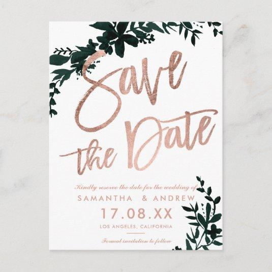 Rose gold script Floral green white save the date Announcement