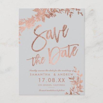Rose gold script Floral grey modern save the date Announcement