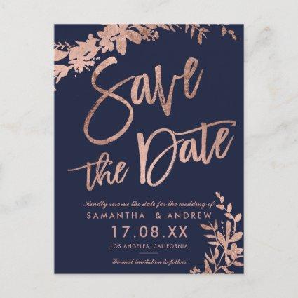 Rose Gold script floral navy blue save the date Announcement