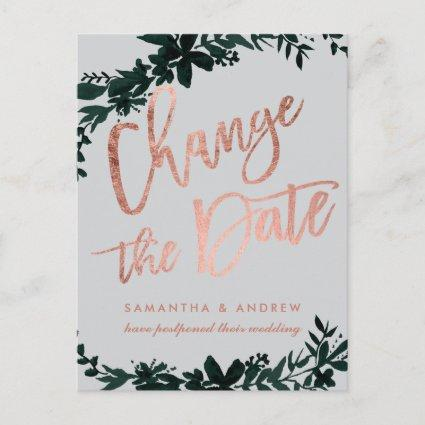 Rose gold script Floral postponed change the date Announcement
