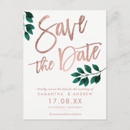 Rose gold script green leaf white save the date announcement