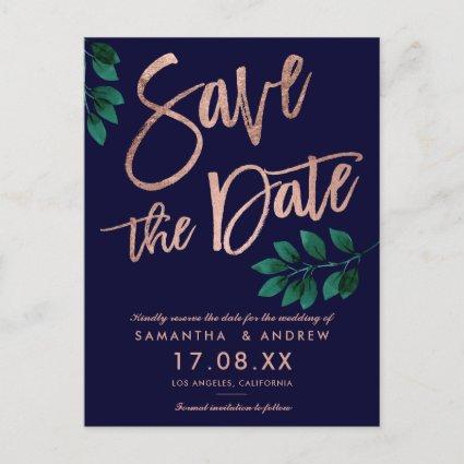 Rose gold script leaf navy blue save the date Announcements Cards