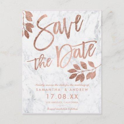 Rose gold script leaf white marble save the date announcement