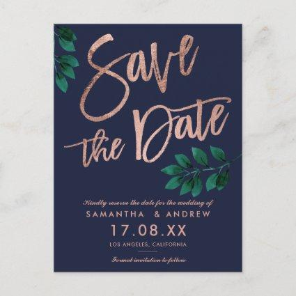 Rose gold script navy blue leaf save the date Announcements Cards