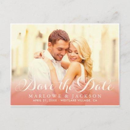 Rose Gold Script Overlay | Photo Save the Date Announcement
