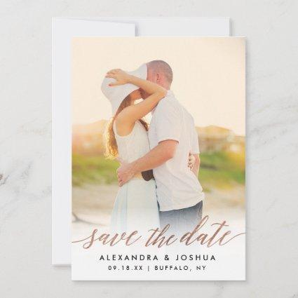 Rose Gold Script Photo Save the Date in Faux Foil