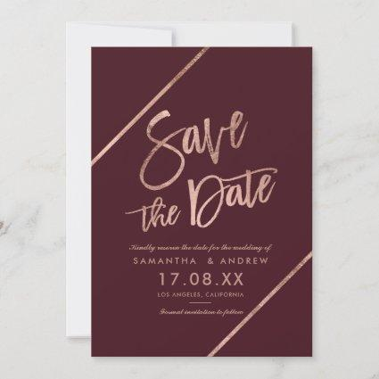 Rose gold script red burgundy save the date