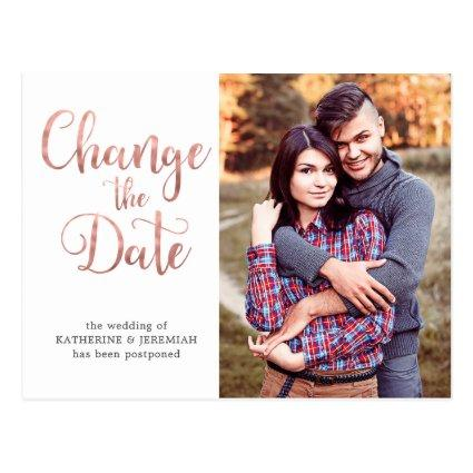 Rose Gold Script Wedding Postponement Date Change