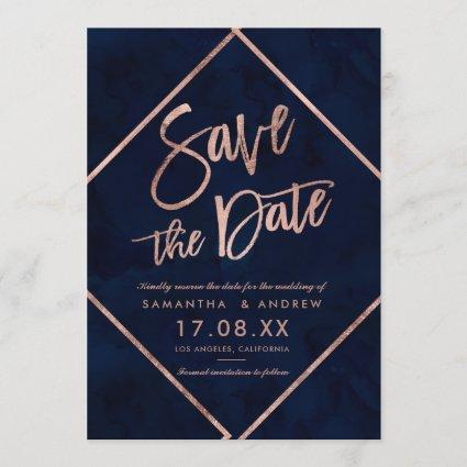 Rose gold stripes navy blue wedding save the date