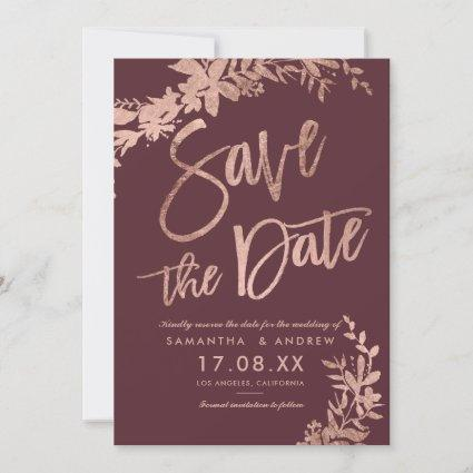 Rose Gold typography floral burgundy save the date