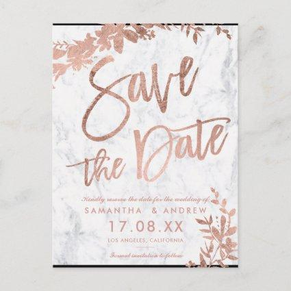 Rose Gold typography floral marble save the date Announcement